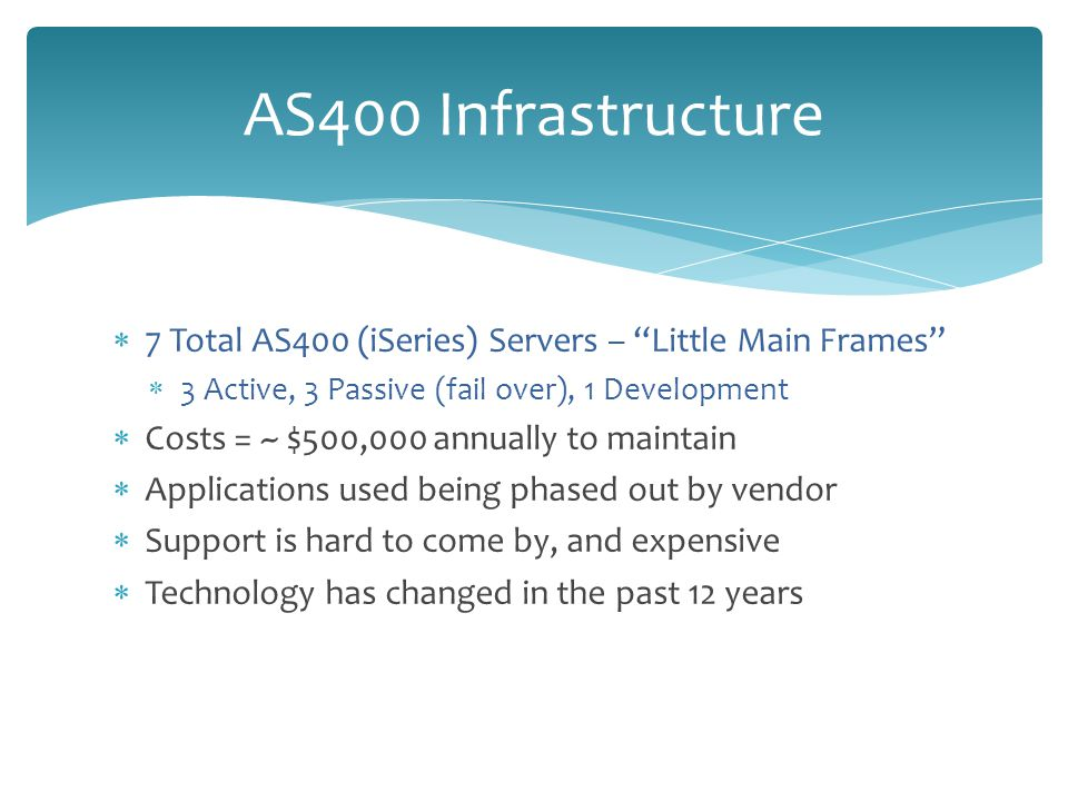  7 Total AS400 (iSeries) Servers – Little Main Frames  3 Active, 3 Passive (fail over), 1 Development  Costs = ~ $500,000 annually to maintain  Applications used being phased out by vendor  Support is hard to come by, and expensive  Technology has changed in the past 12 years AS400 Infrastructure