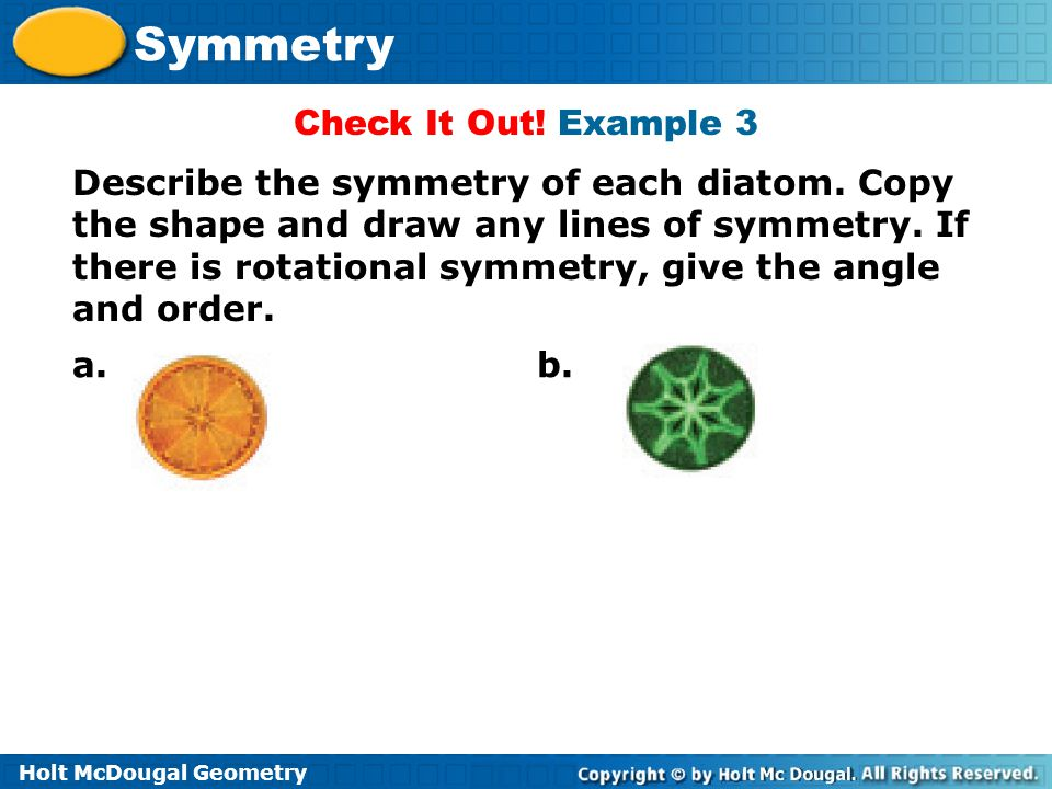 Holt McDougal Geometry Symmetry Check It Out! Example 3 Describe the symmetry of each diatom. Copy the shape and draw any lines of symmetry. If there