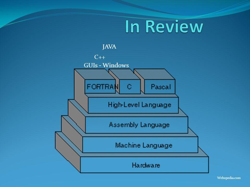 C++ JAVA GUIs - Windows Webopedia.com