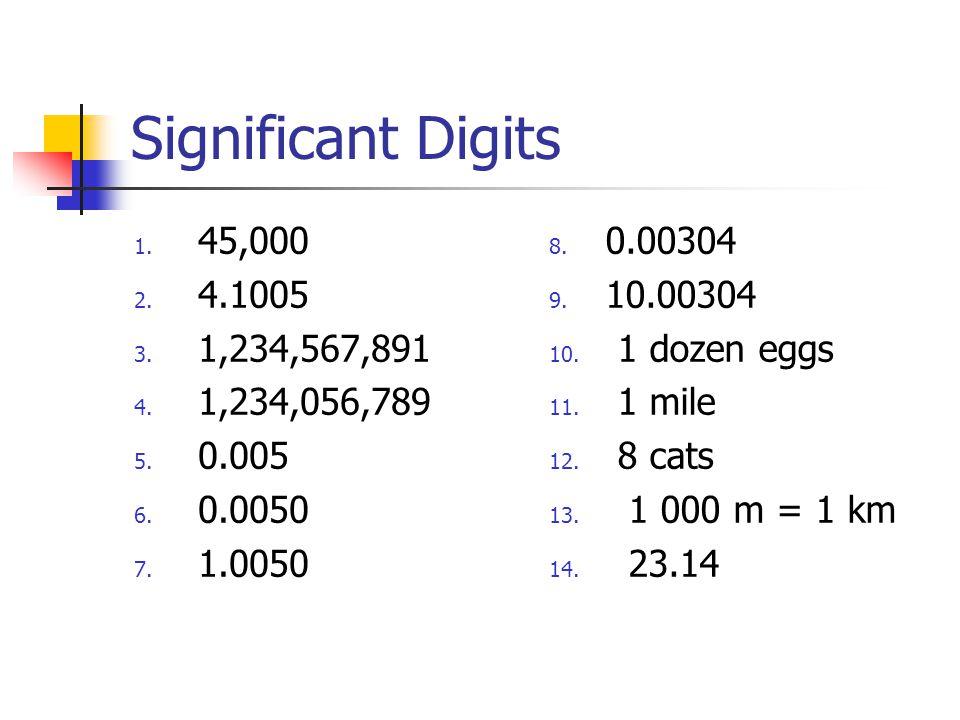 Significant Digits 1. 45,000 2. 4.1005 3. 1,234,567,891 4.