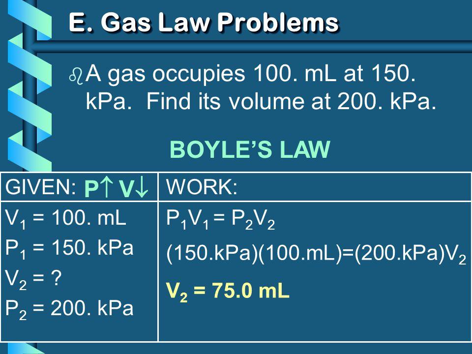 GIVEN: V 1 = 100. mL P 1 = 150. kPa V 2 = . P 2 = 200.