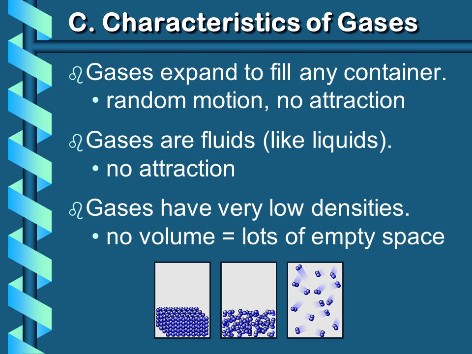 C. Characteristics of Gases b Gases expand to fill any container.