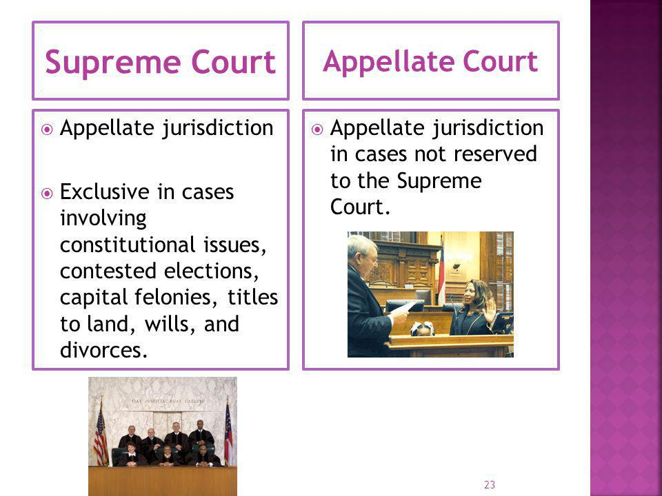 Superior Court Trial Courts 159 Courts (49 circuits)  General jurisdiction  Exclusive in cases of felonies, divorces, titles to land.