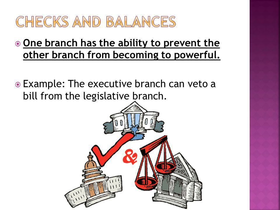  One branch has the ability to prevent the other branch from becoming to powerful.  Example: The executive branch can veto a bill from the legislati