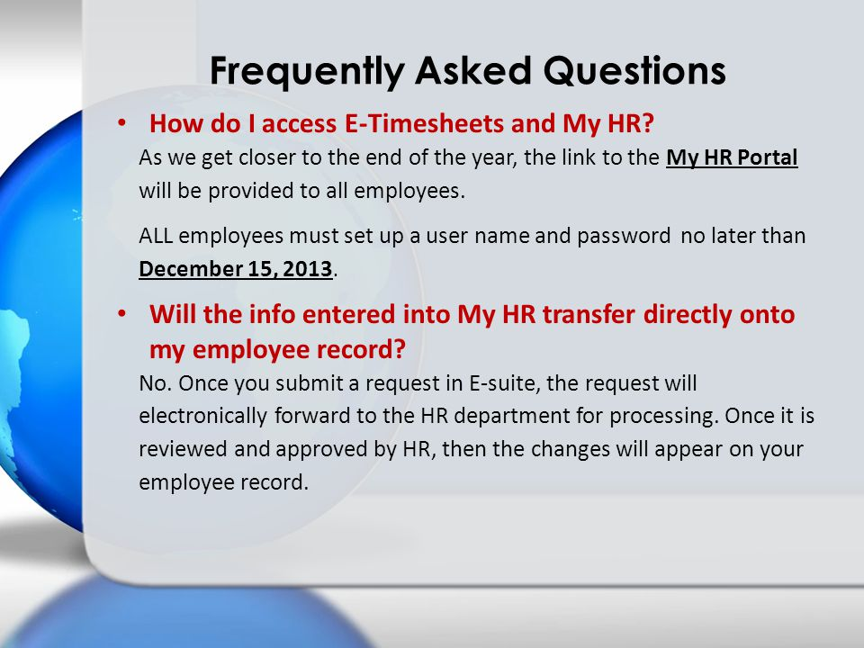 How do I access E-Timesheets and My HR.