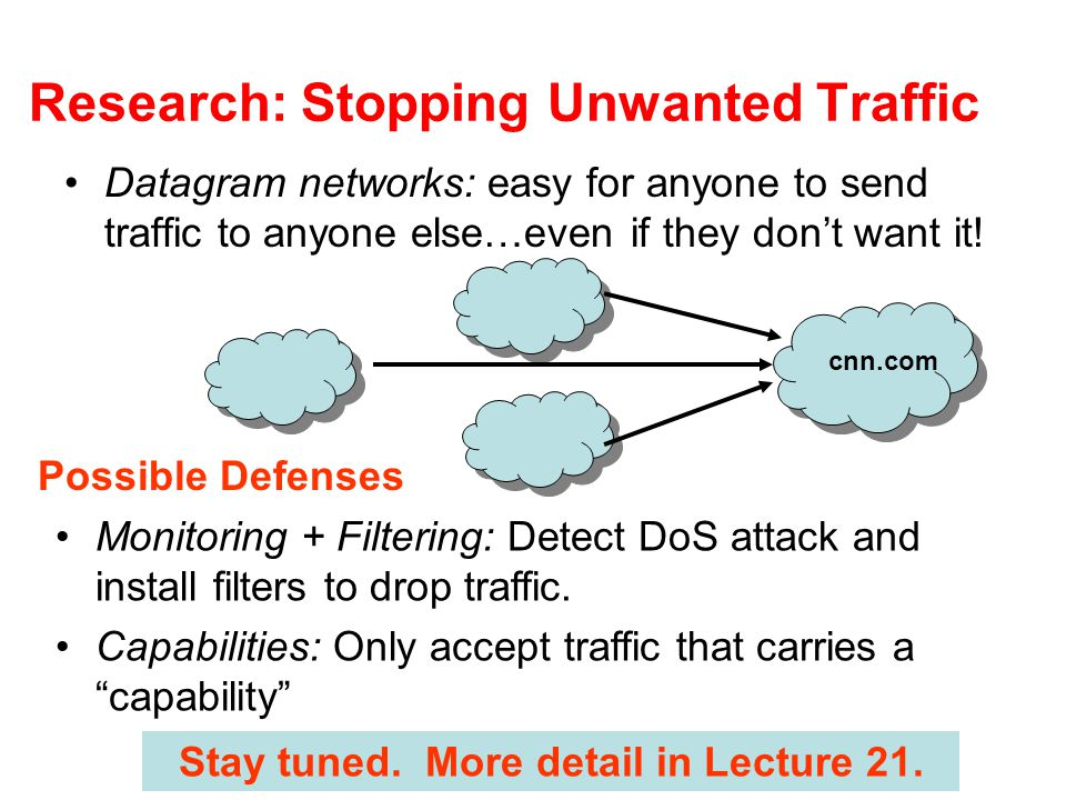 Research: Stopping Unwanted Traffic Datagram networks: easy for anyone to send traffic to anyone else…even if they don't want it.