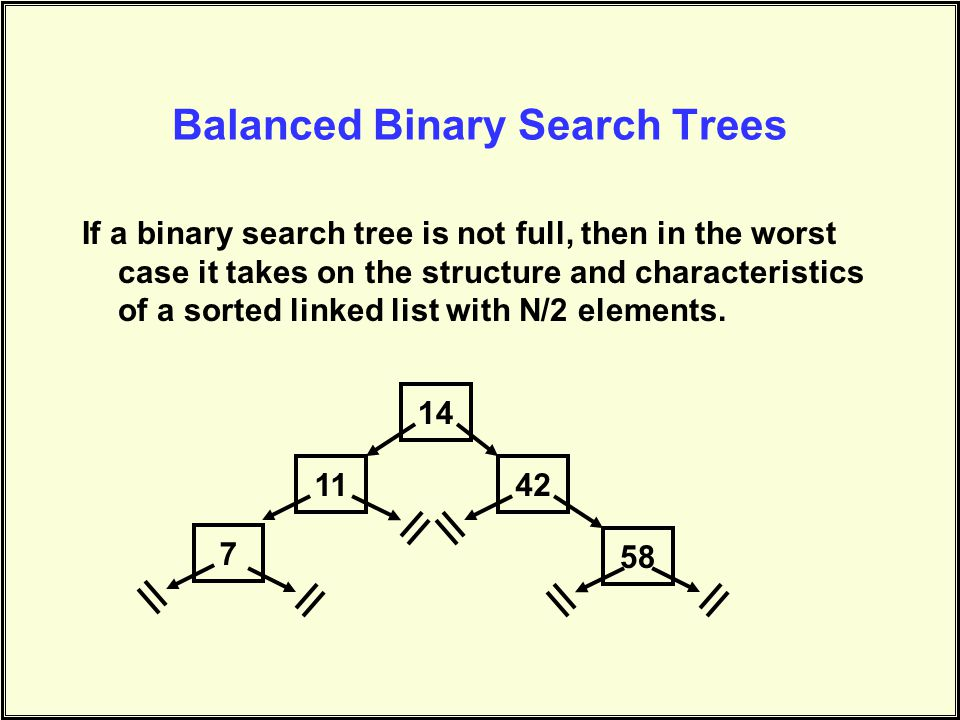 Balanced Binary Search Trees If a binary search tree is not full, then in the worst case it takes on the structure and characteristics of a sorted linked list with N/2 elements.