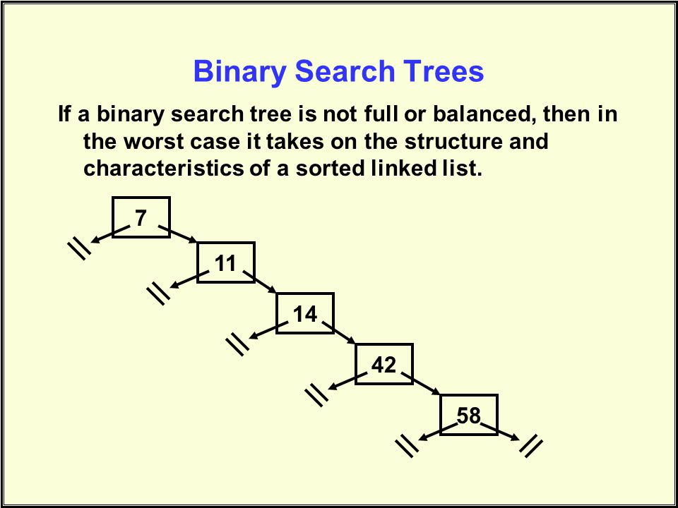 Binary Search Trees If a binary search tree is not full or balanced, then in the worst case it takes on the structure and characteristics of a sorted linked list.