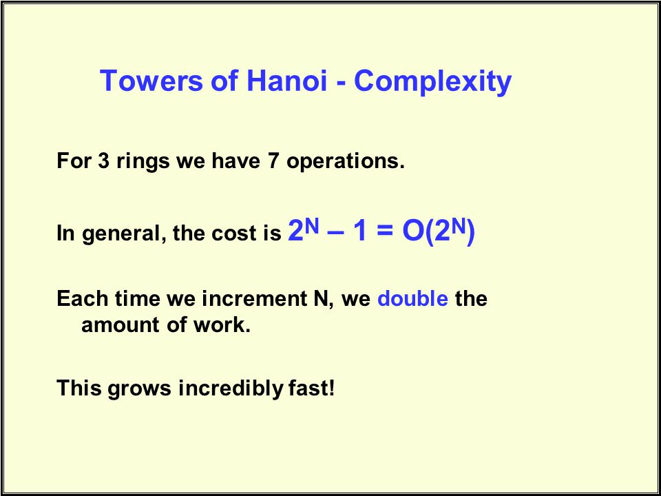 Towers of Hanoi - Complexity For 3 rings we have 7 operations.