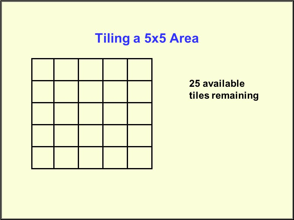 Tiling a 5x5 Area 25 available tiles remaining