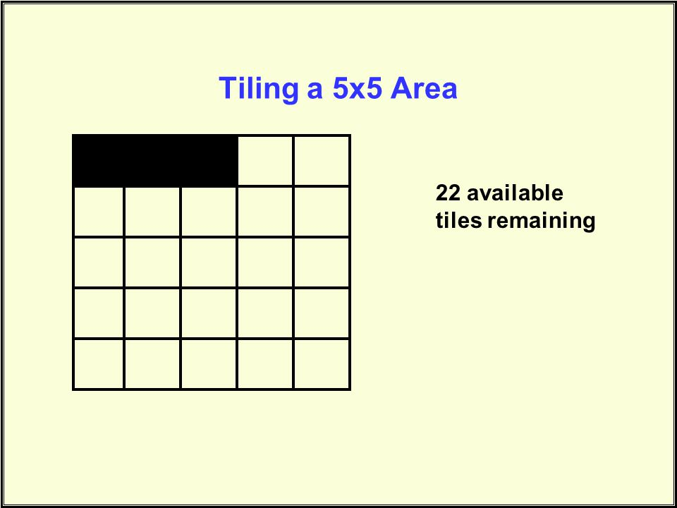 Tiling a 5x5 Area 22 available tiles remaining