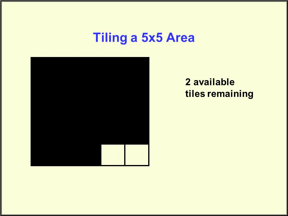 Tiling a 5x5 Area 2 available tiles remaining