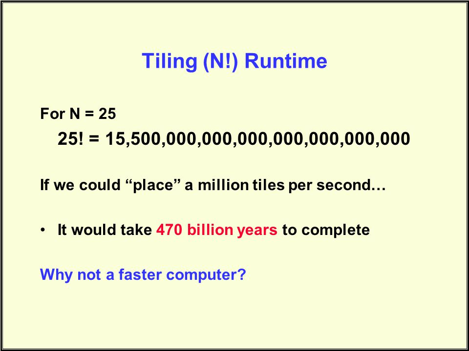 Tiling (N!) Runtime For N = 25 25.