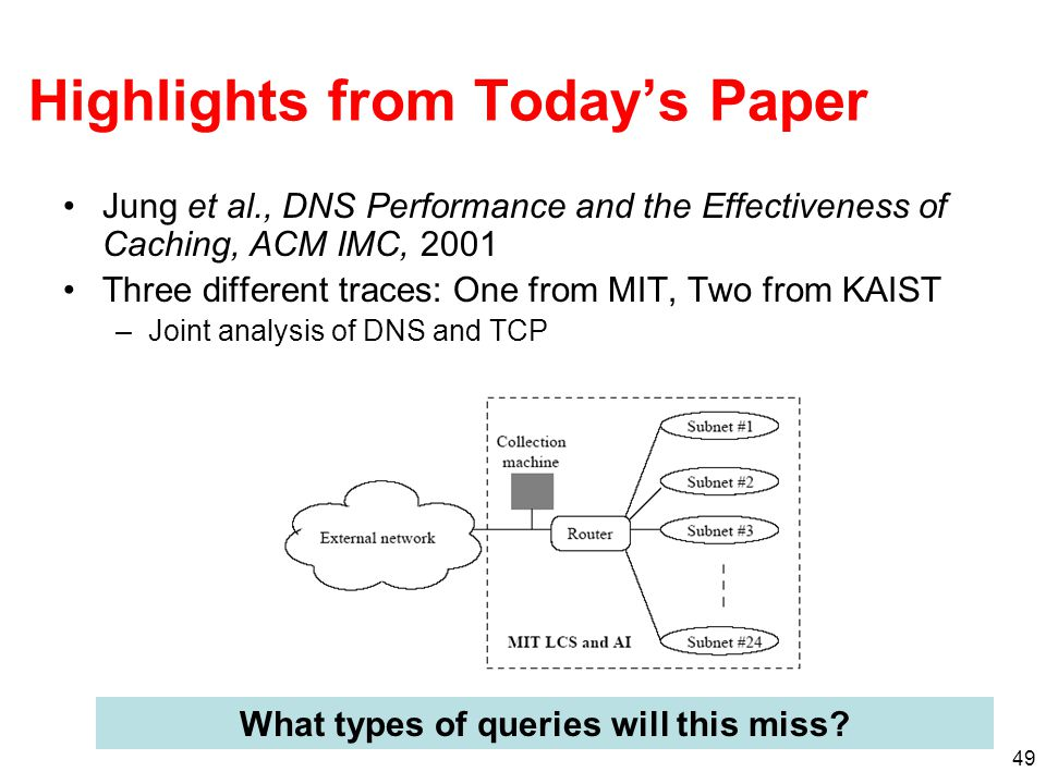 49 Highlights from Today's Paper Jung et al., DNS Performance and the Effectiveness of Caching, ACM IMC, 2001 Three different traces: One from MIT, Two from KAIST –Joint analysis of DNS and TCP What types of queries will this miss?