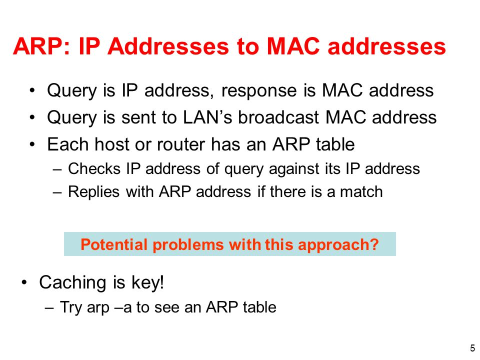 5 ARP: IP Addresses to MAC addresses Query is IP address, response is MAC address Query is sent to LAN's broadcast MAC address Each host or router has an ARP table –Checks IP address of query against its IP address –Replies with ARP address if there is a match Potential problems with this approach.