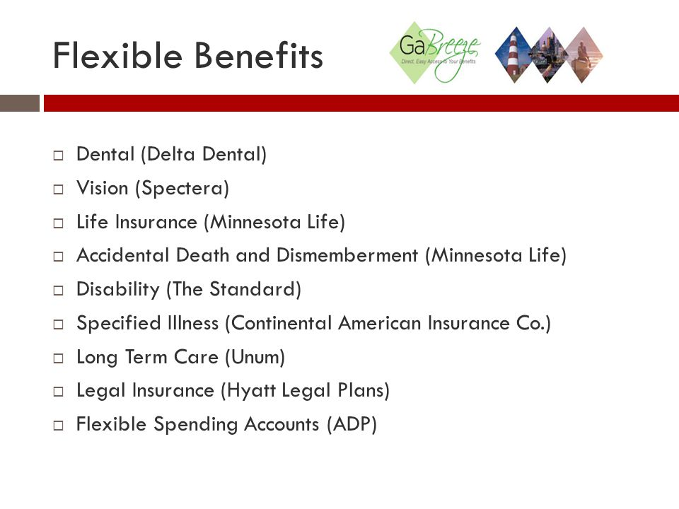 Flexible Benefits  Dental (Delta Dental)  Vision (Spectera)  Life Insurance (Minnesota Life)  Accidental Death and Dismemberment (Minnesota Life)