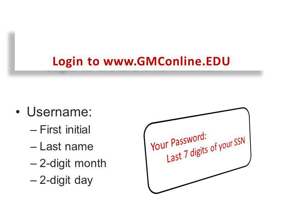 After logging into GMConline.edu, click on Access Online Registration