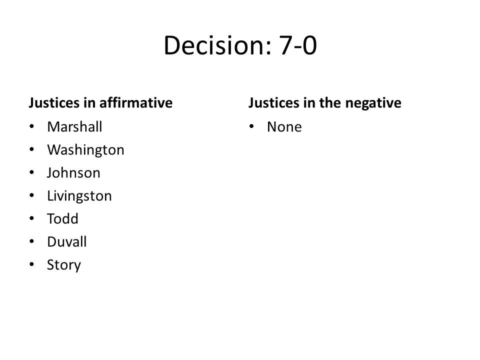 Decision: 7-0 Justices in affirmative Marshall Washington Johnson Livingston Todd Duvall Story Justices in the negative None