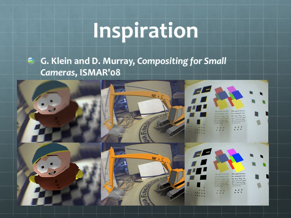 Inspiration G. Klein and D. Murray, Compositing for Small Cameras, ISMAR 08