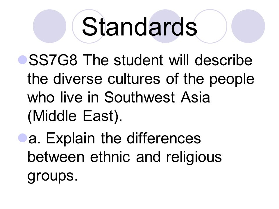 Standards SS7G8 The student will describe the diverse cultures of the people who live in Southwest Asia (Middle East). a. Explain the differences betw