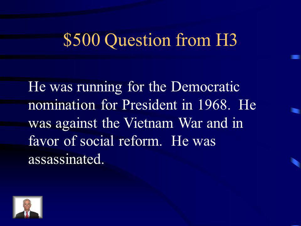 $400 Answer from H3 Democratic National Convention