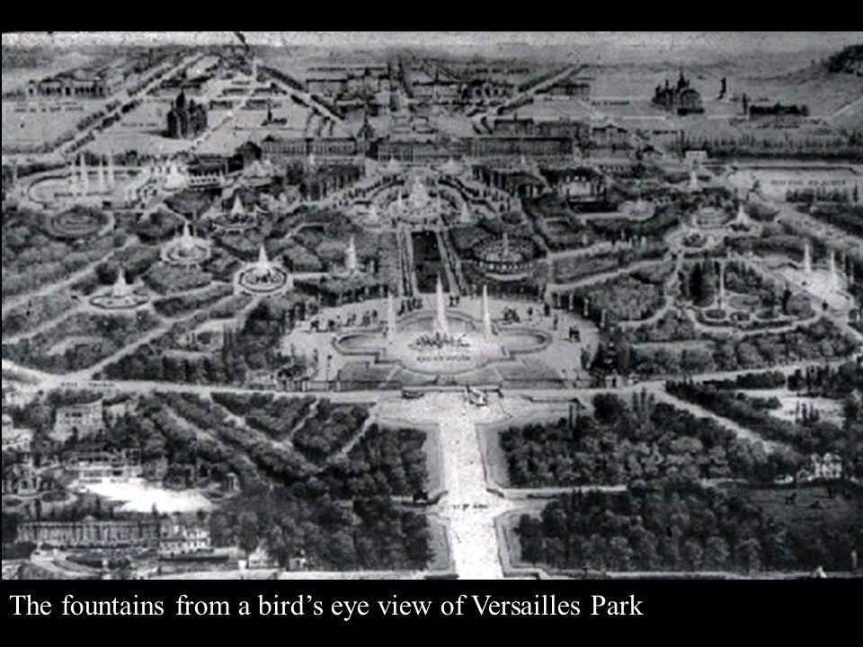 The fountains from a bird's eye view of Versailles Park