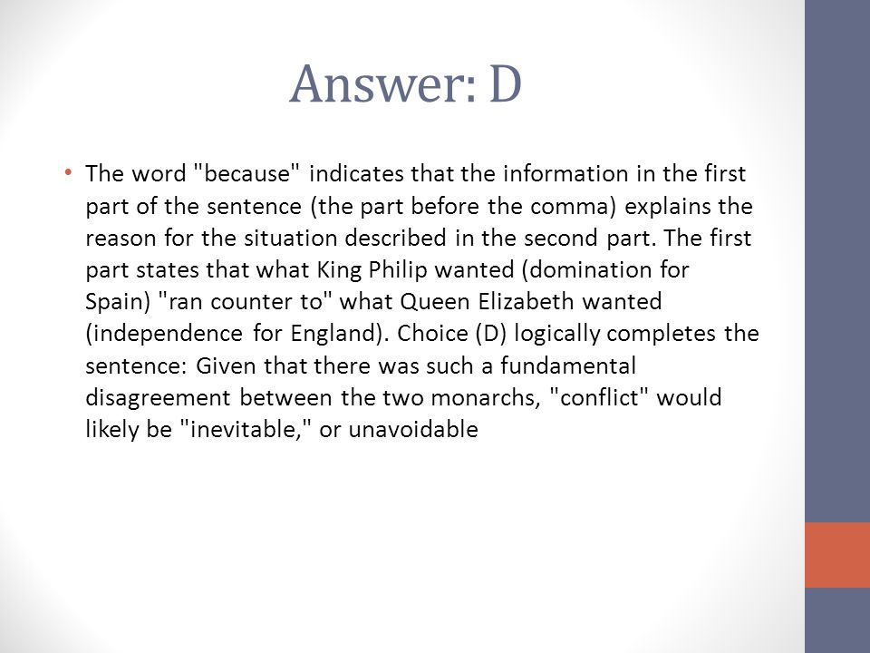 Answer: D The word