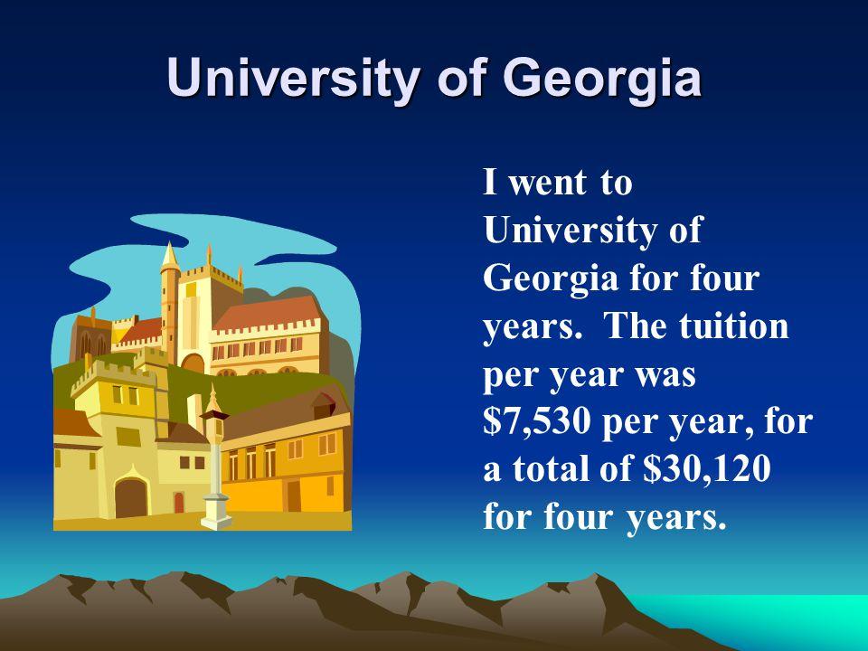 University of Georgia I went to University of Georgia for four years.