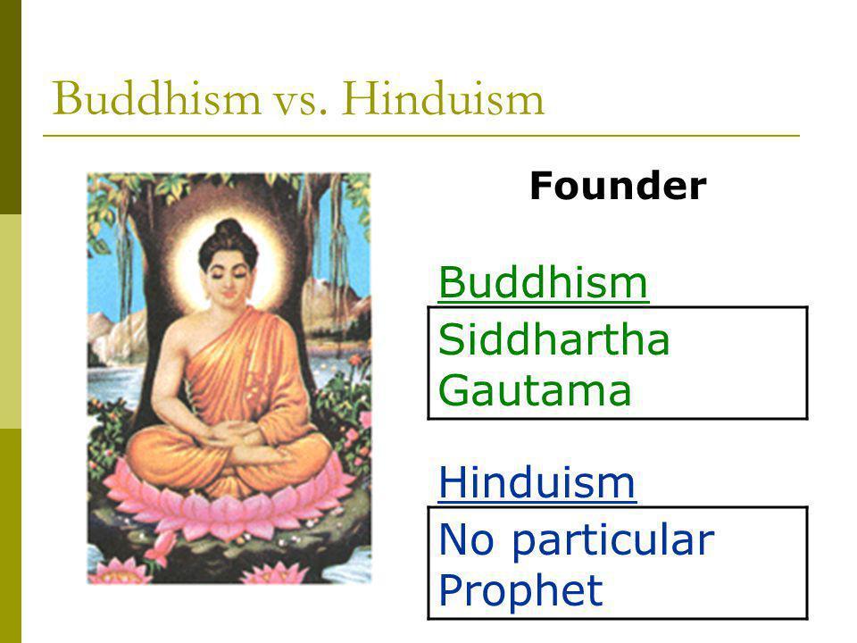 Buddhism vs. Hinduism Siddhartha Gautama No particular Prophet Founder Buddhism Hinduism
