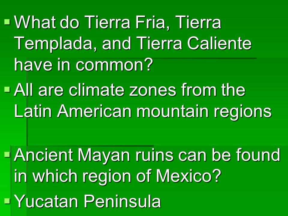  Name the major mountain ranges of Mexico.