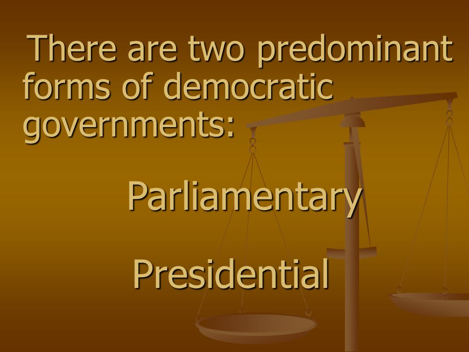 The main difference between the Parliamentary and Presidential systems is the relationship between the executive (carries out the laws) and the legislative (makes the laws) branches of government.
