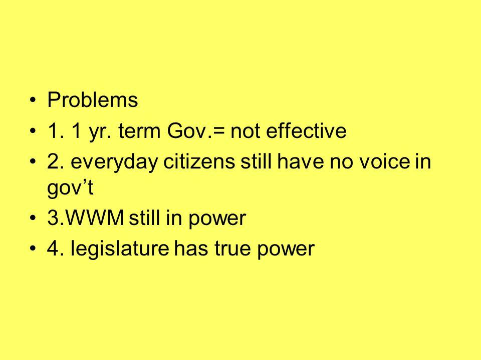 Problems 1.1 yr. term Gov.= not effective 2.