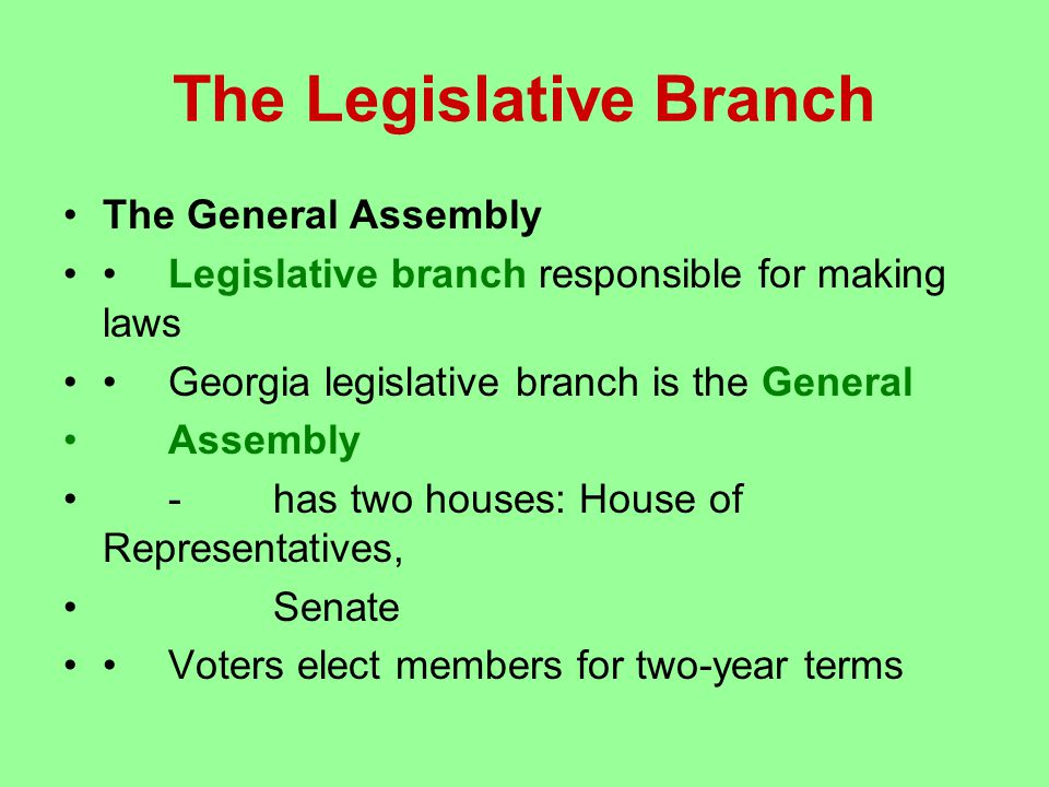 The Legislative Branch The General Assembly Legislative branch responsible for making laws Georgia legislative branch is the General Assembly -has two