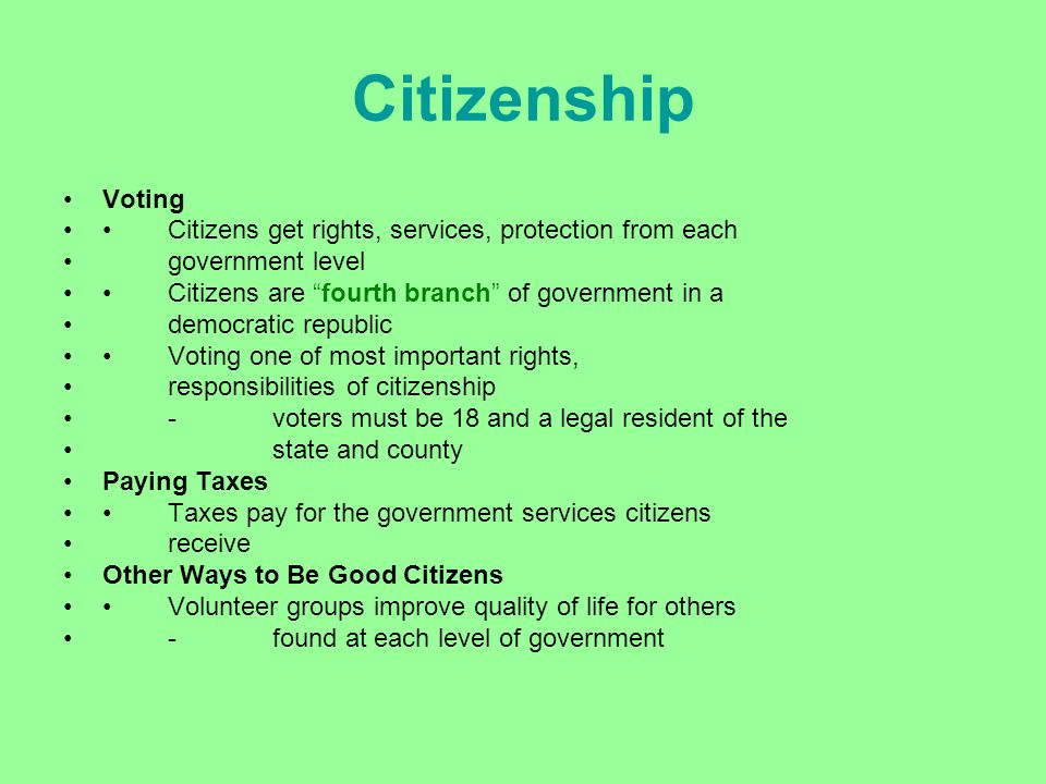 "Citizenship Voting Citizens get rights, services, protection from each government level Citizens are ""fourth branch"" of government in a democratic rep"