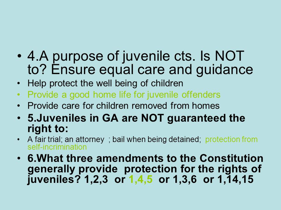 4.A purpose of juvenile cts. Is NOT to? Ensure equal care and guidance Help protect the well being of children Provide a good home life for juvenile o