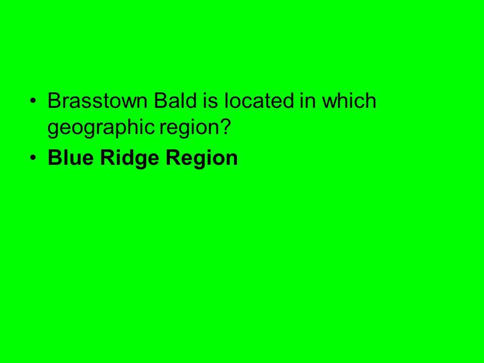 Brasstown Bald is located in which geographic region? Blue Ridge Region