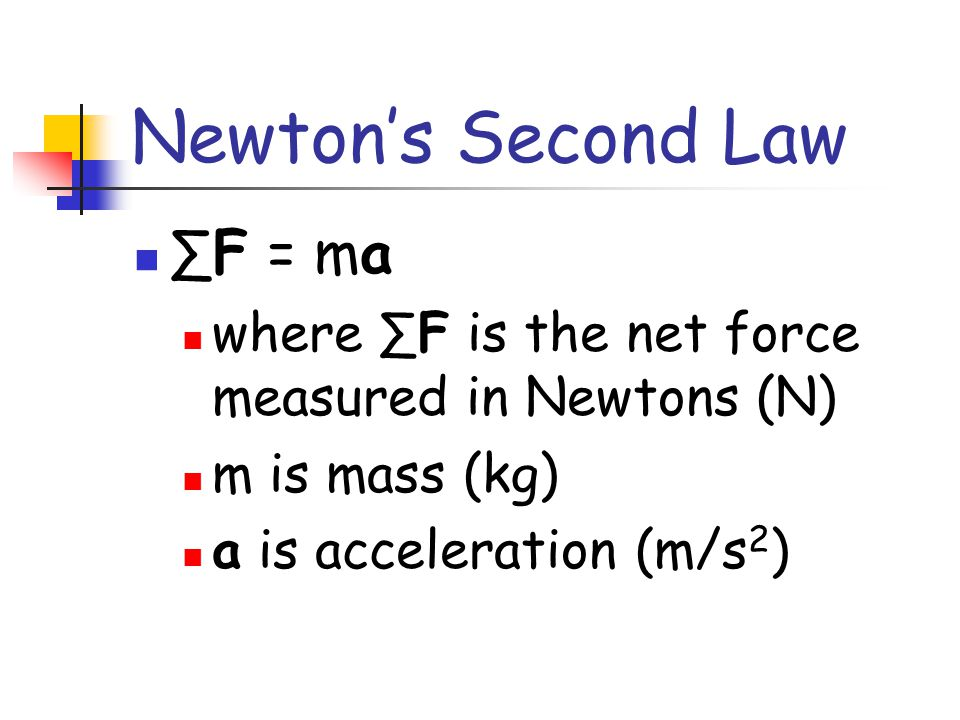 Newton's Second Law A body accelerates when acted upon by a net external force. The acceleration is proportional to the net force and is in the direct