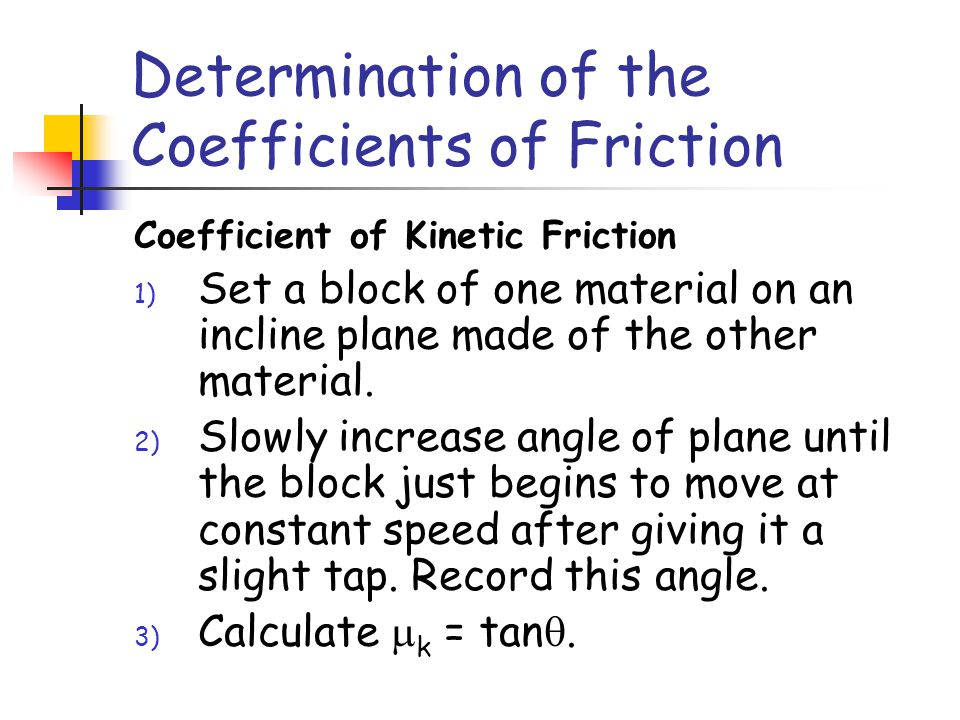 Determination of the Coefficients of Friction Coefficient of Static Friction 1) Set a block of one material on an incline plane made of the other mate