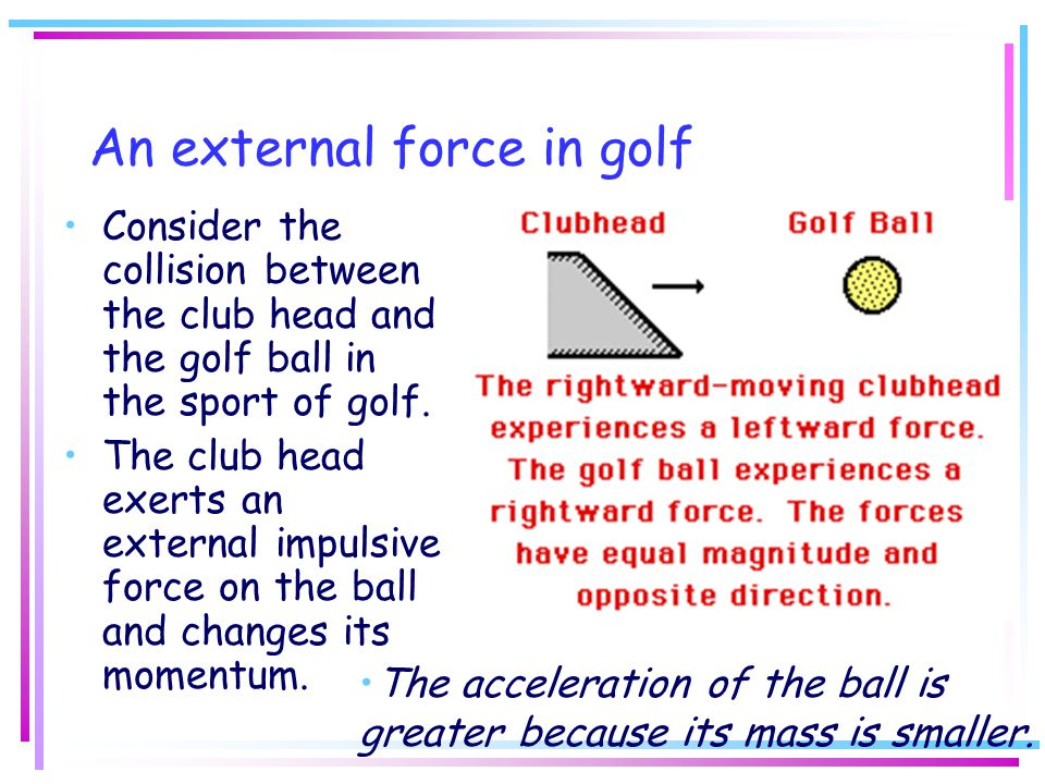 An external force in golf Consider the collision between the club head and the golf ball in the sport of golf. The club head exerts an external impuls