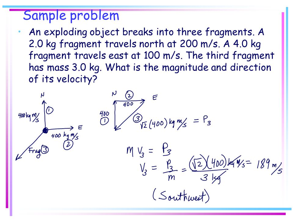 Sample problem An exploding object breaks into three fragments. A 2.0 kg fragment travels north at 200 m/s. A 4.0 kg fragment travels east at 100 m/s.