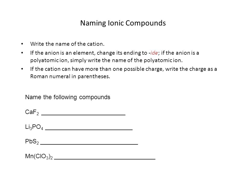 Naming Ionic Compounds Write the name of the cation.