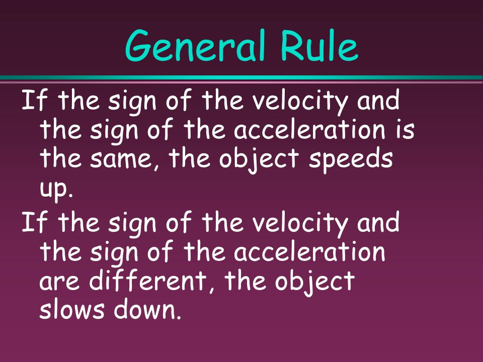 Sign of Acceleration Acceleration can be positive or negative. The sign indicates direction.