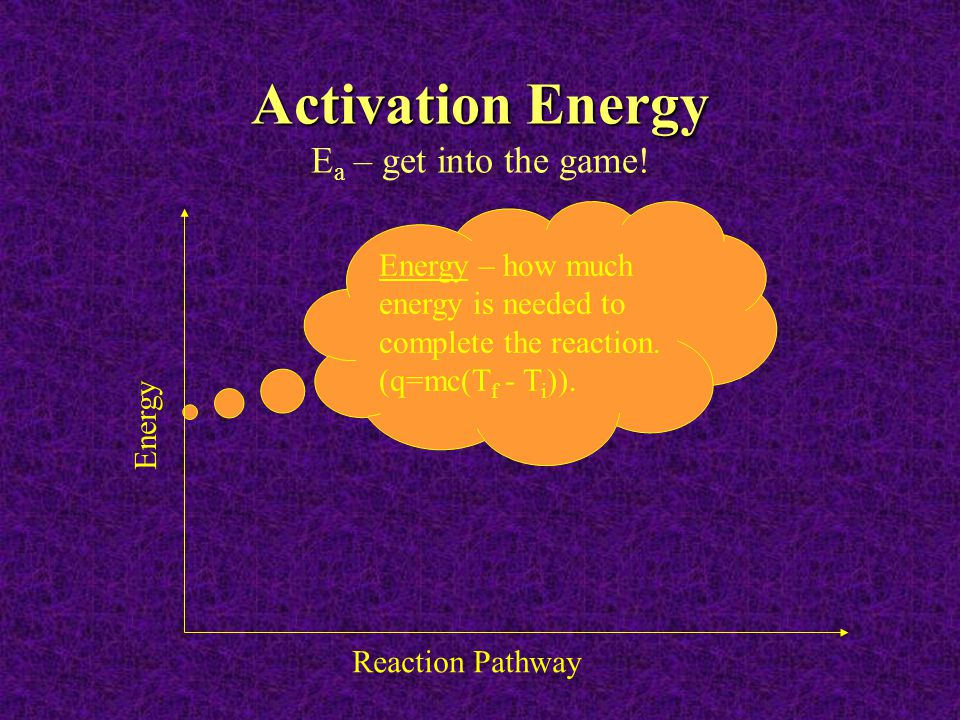 Activation Energy Activation Energy E a – get into the game! Energy – how much energy is needed to complete the reaction. (q=mc(T f - T i )). Reaction