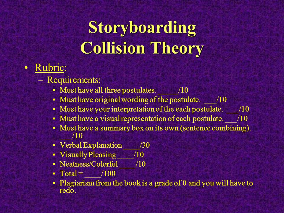 Storyboarding Collision Theory Rubric: –Requirements: Must have all three postulates. _____/10 Must have original wording of the postulate. ___/10 Mus