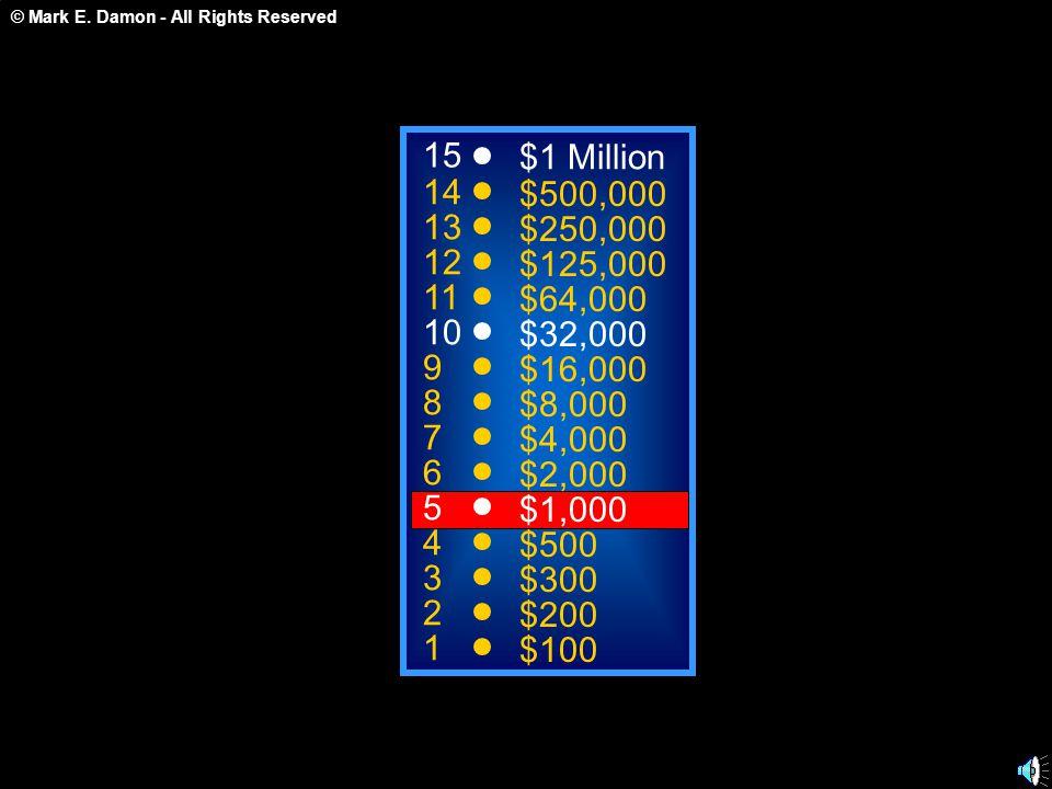 © Mark E. Damon - All Rights Reserved 15 14 13 12 11 10 9 8 7 6 5 4 3 2 1 $1 Million $500,000 $250,000 $125,000 $64,000 $32,000 $16,000 $8,000 $4,000