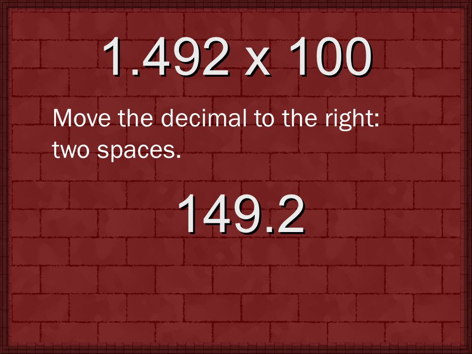 2,124.94 ÷ 1,000 Move the decimal to the left: three spaces. 2.12494