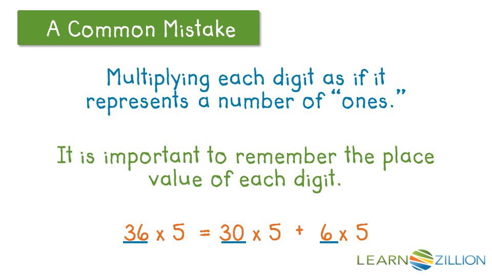 A Common Mistake Multiplying each digit as if it represents a number of ones. It is important to remember the place value of each digit.
