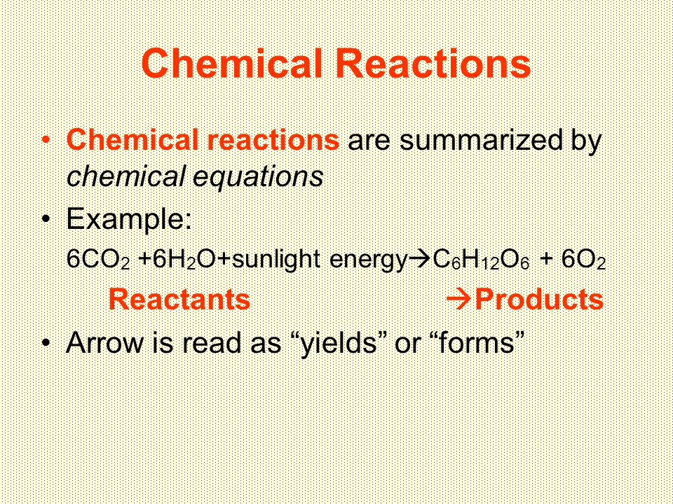 Chemical Reactions Chemical reactions are summarized by chemical equations Example: 6CO 2 +6H 2 O+sunlight energy  C 6 H 12 O 6 + 6O 2 Reactants  Products Arrow is read as yields or forms