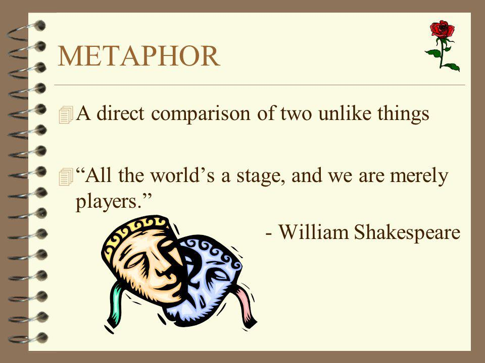 """METAPHOR 4 A direct comparison of two unlike things 4 """"All the world's a stage, and we are merely players."""" - William Shakespeare"""