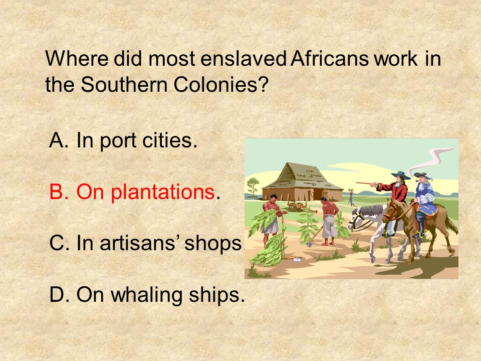 Where did most enslaved Africans work in the Southern Colonies? A.In port cities. B.On plantations. C.In artisans' shops. D.On whaling ships.